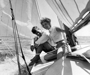 black and white, boat, and couple image