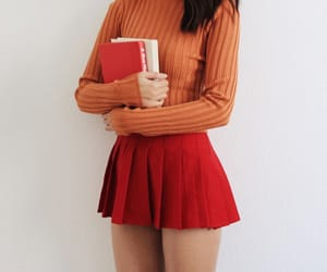 outfit, red skirt, and skirt image