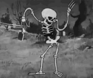 gif, skeleton, and black and white image