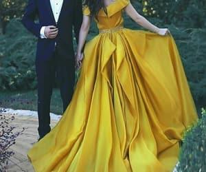dress, yellow, and beauty image