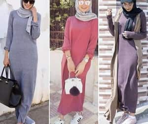dresses, hijab, and knitted cardigan image