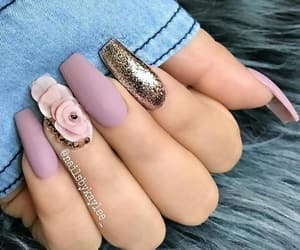 glitter, matte nails, and spring nails image