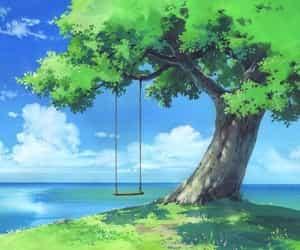 anime, tree, and scenery image