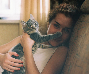 beautiful, cat, and girl image