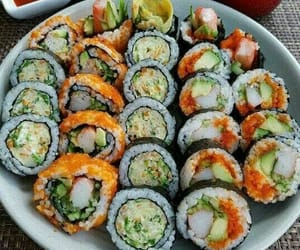 food, delicious, and sushi image