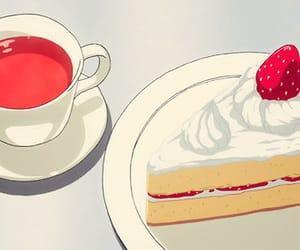 cake, tea, and anime image