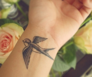 tattoo, bird, and swallow image