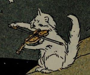 cat, violin, and illustration image