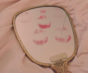 kiss, mirror, and lipstick image