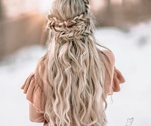 blonde hair, curly, and hair image