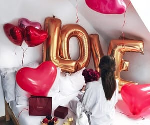 love, balloons, and red image