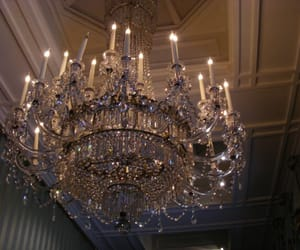 chandelier, luxury, and light image