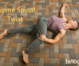 yoga pose, health tips, and supine spinal twist image