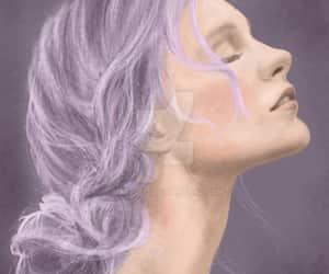 art, portrait, and purple hair image