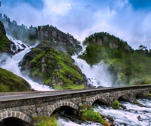 bridge, mountain, and green image