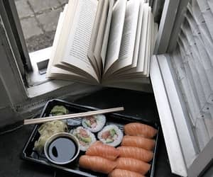 book, sushi, and food image