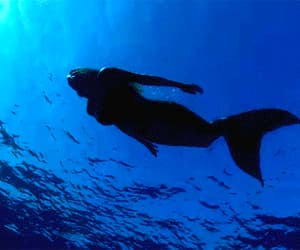 mermaid, gif, and blue image