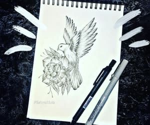 bird, drawing, and flowers image