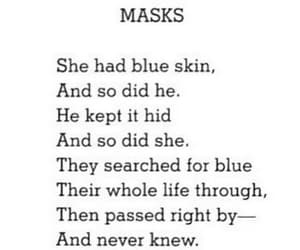 mask, quotes, and black and white image