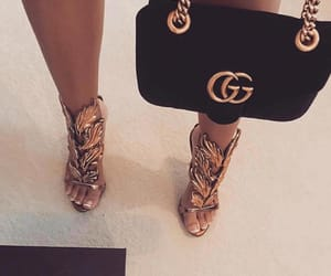 bag, gold, and shoes image