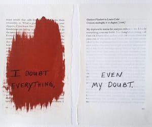 book, doubt, and red image