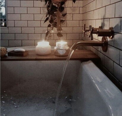 bath, candle, and cozy image