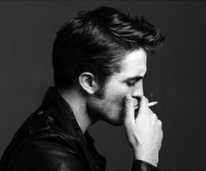 robert pattinson, smoke, and black and white image