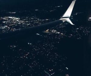 night, travel, and airplane image