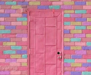 colorful, door, and pink image