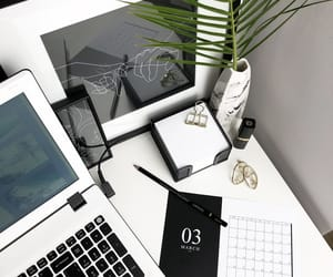 black and white, decor, and home office image