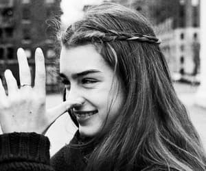 brooke shields, black and white, and hair image