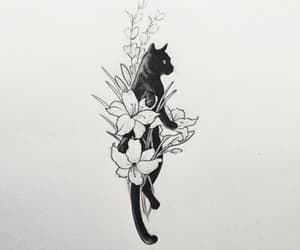 cat, art, and tattoo image