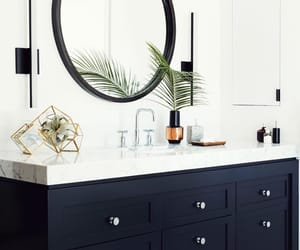 bathroom, black and white, and decor image