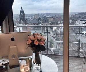 flowers, view, and apple image