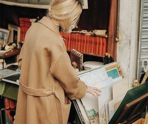 blonde, newspaper, and book image