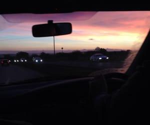 sky, car, and sunset image