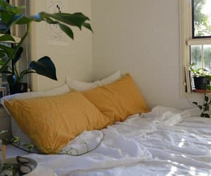 yellow, room, and bed image