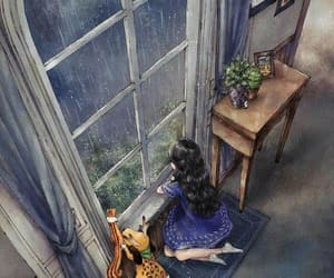art, rain, and window image