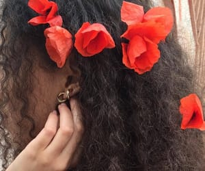 flowers, hair, and red image