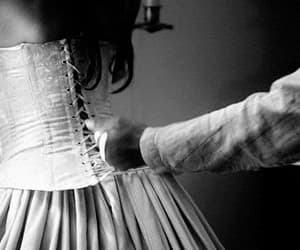 corset, gif, and black and white image