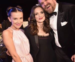 winona ryder, millie bobby brown, and david harbour image