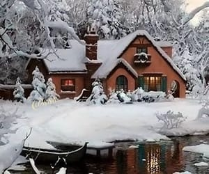 cabin, white, and frost image