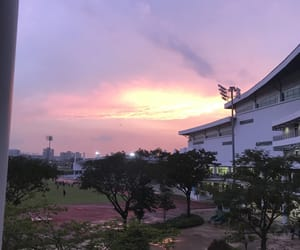pink, school, and sky image