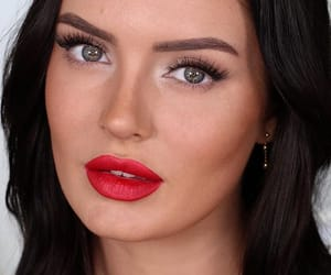 beauty, red, and simple makeup image