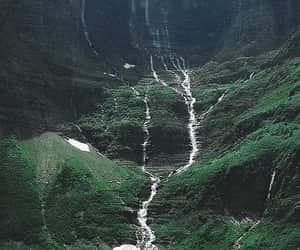falls, green, and lake image