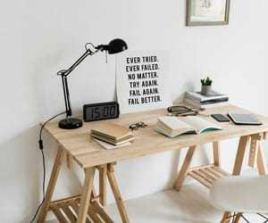 books, lamp, and try again image