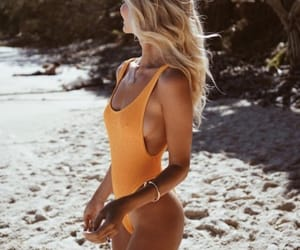 beach, sea, and blonde image
