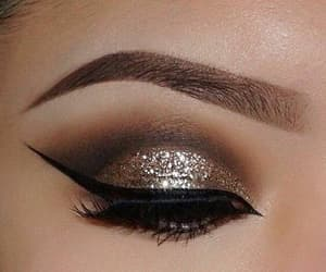 eyeliner, glitter, and gold image