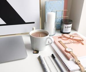 desk, macbook, and pen image