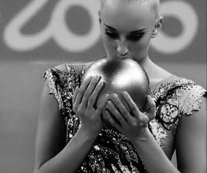 ball, black and white, and gymnast image